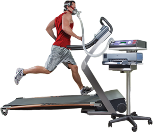man running on treadmill doing VO2 max test